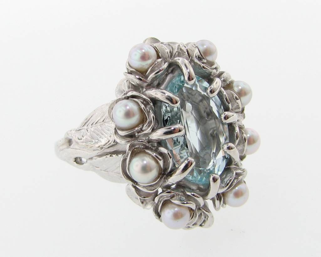Organic Aquamarine Pearl Silver Ring, Grandma's Jewel Box