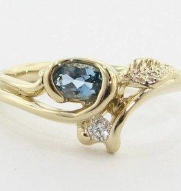 Organic Aquamarine Diamond Yellow Gold Ring, Printemps Leaf and Bud