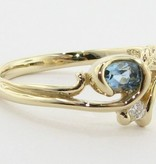 Organic Aquamarine Diamond Yellow Gold Ring, Printemps Leaf and Bud