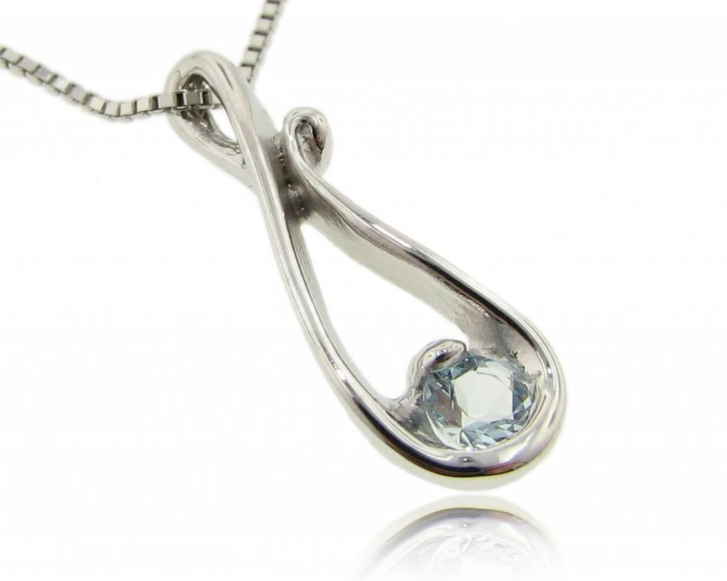 Motion Aquamarine Silver Pendant, Raindrop