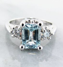 Vintage Aquamarine Moissanite Silver Ring, Old Paris