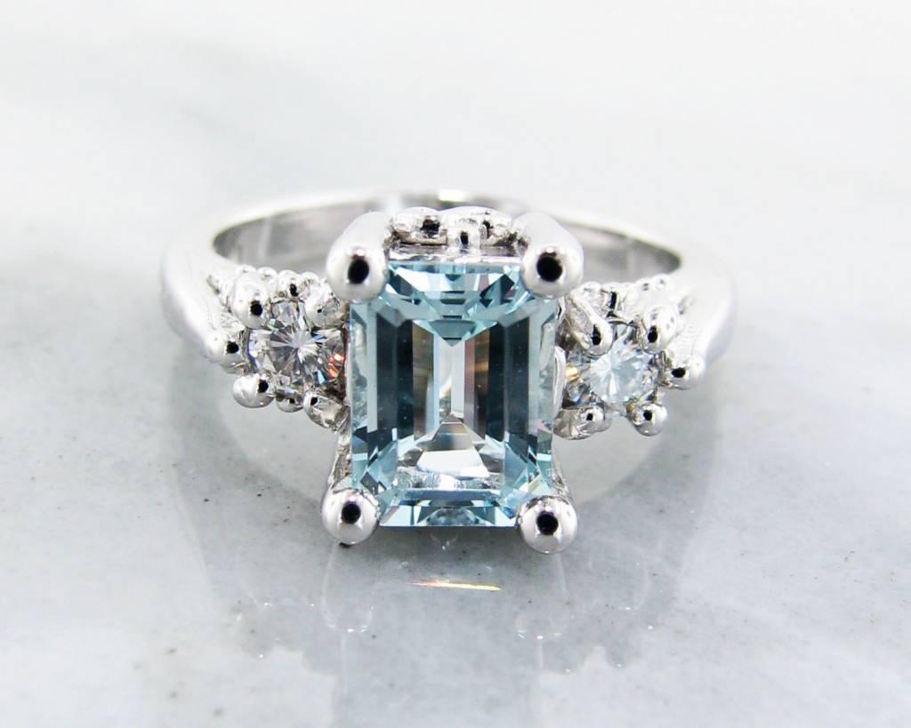 Vintage Aquamarine Moissanite Silver Ring, Old Paris