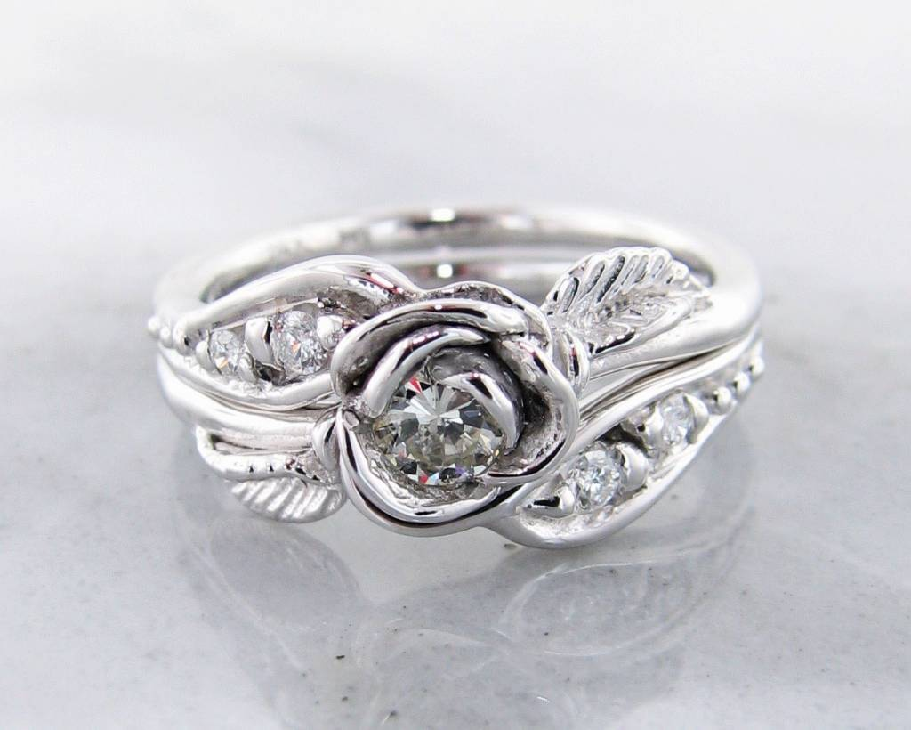 Signature Rose Diamond White Gold Wedding Ring Set Prize Tea