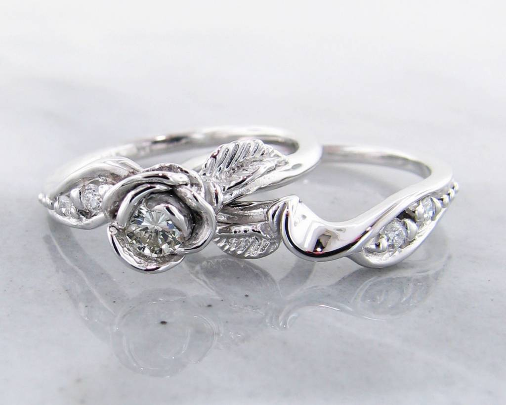signature rose diamond white gold wedding ring set prize tea rose - White Gold Wedding Rings Sets