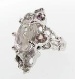 Organic Morganite Silver Ring, Pink Nebula