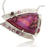 Sleek Silver Druzy Quartz Pendant, Horse Head Nebula