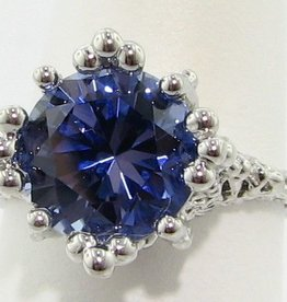 Organic Tanzanite Silver Ring, Princess