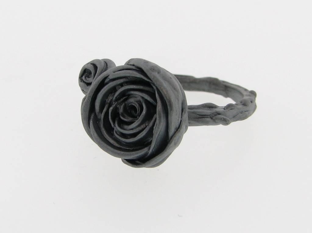Organic Black Silver Ring, Ranunculus