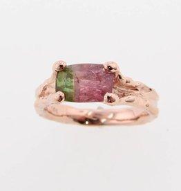 Organic Watermelon Tourmaline Rose Gold Ring, Melted Band