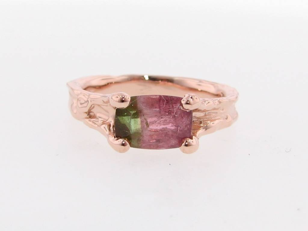 Organic Watermelon Tourmaline Rose Gold Ring, Melted Band