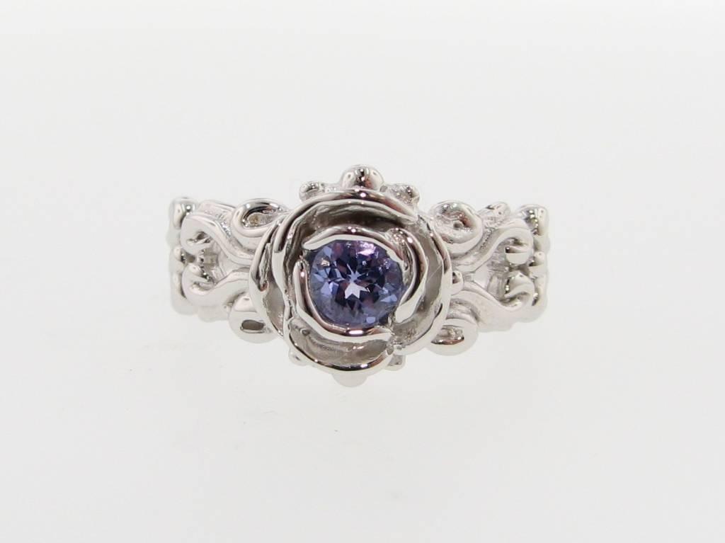 Vintage Tanzanite Silver Ring, Victorian, A la Rose