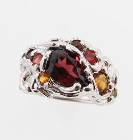 Organic Multi-gemstone Silver Ring, Sunset Swirl