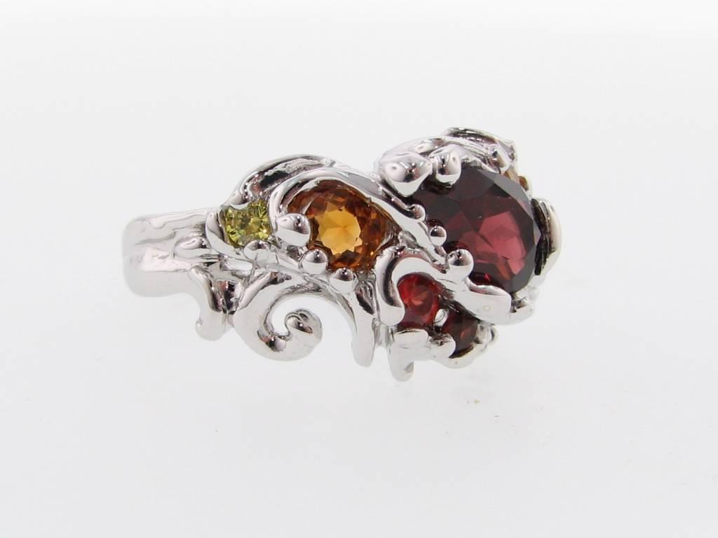 Organic Multi-gemstone Silver Ring, Sunset Swirl