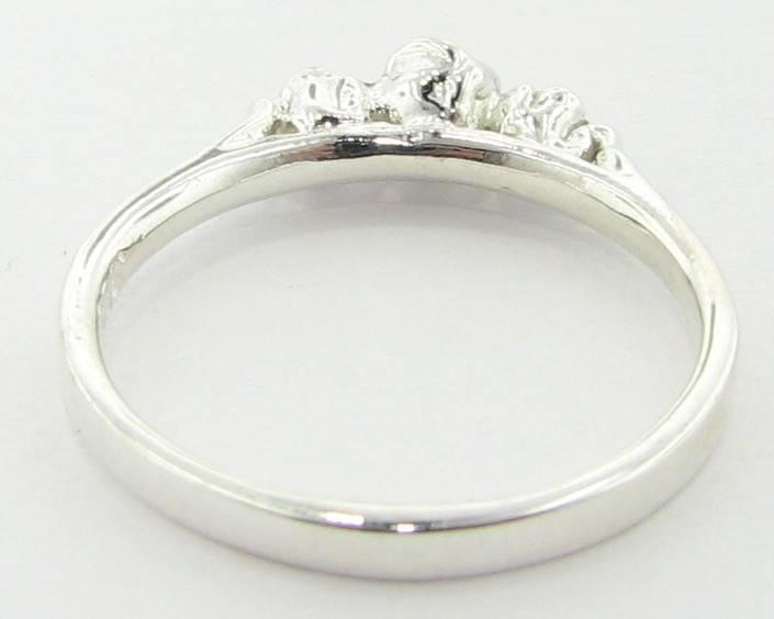 Organic Silver Ring, Three Dainty Roses
