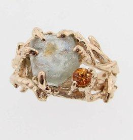 Organic Raw Sapphire Gold Ring, Golden Birch