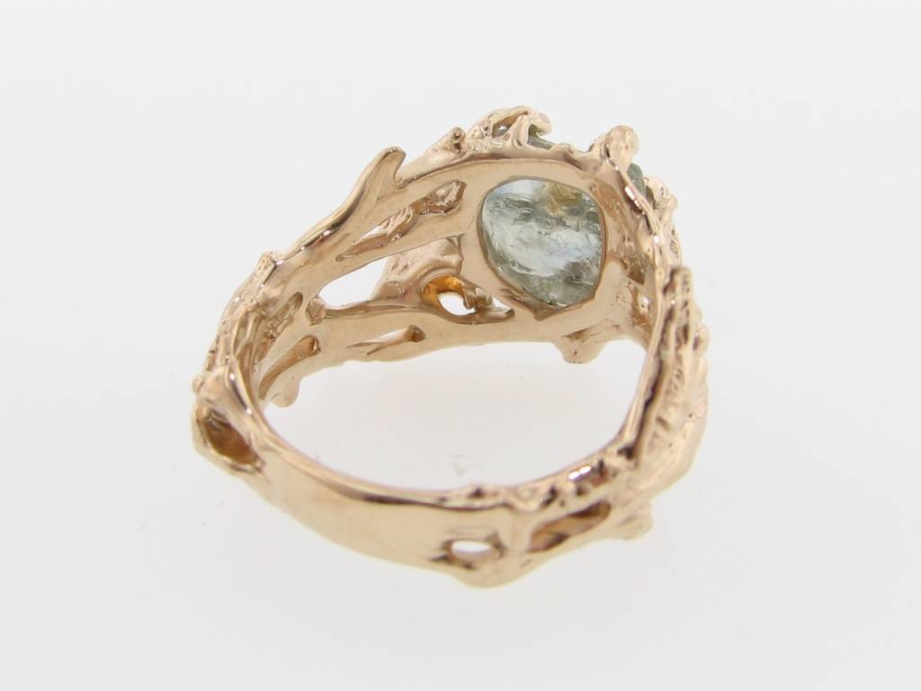 Organic Raw Sapphire Gold Ring, Golden Birch
