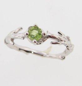 Organic Peridot Silver Ring, Delicate Bough