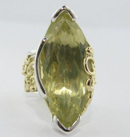 Organic Silver Yellow Gold Lemon Quartz Ring, Confection