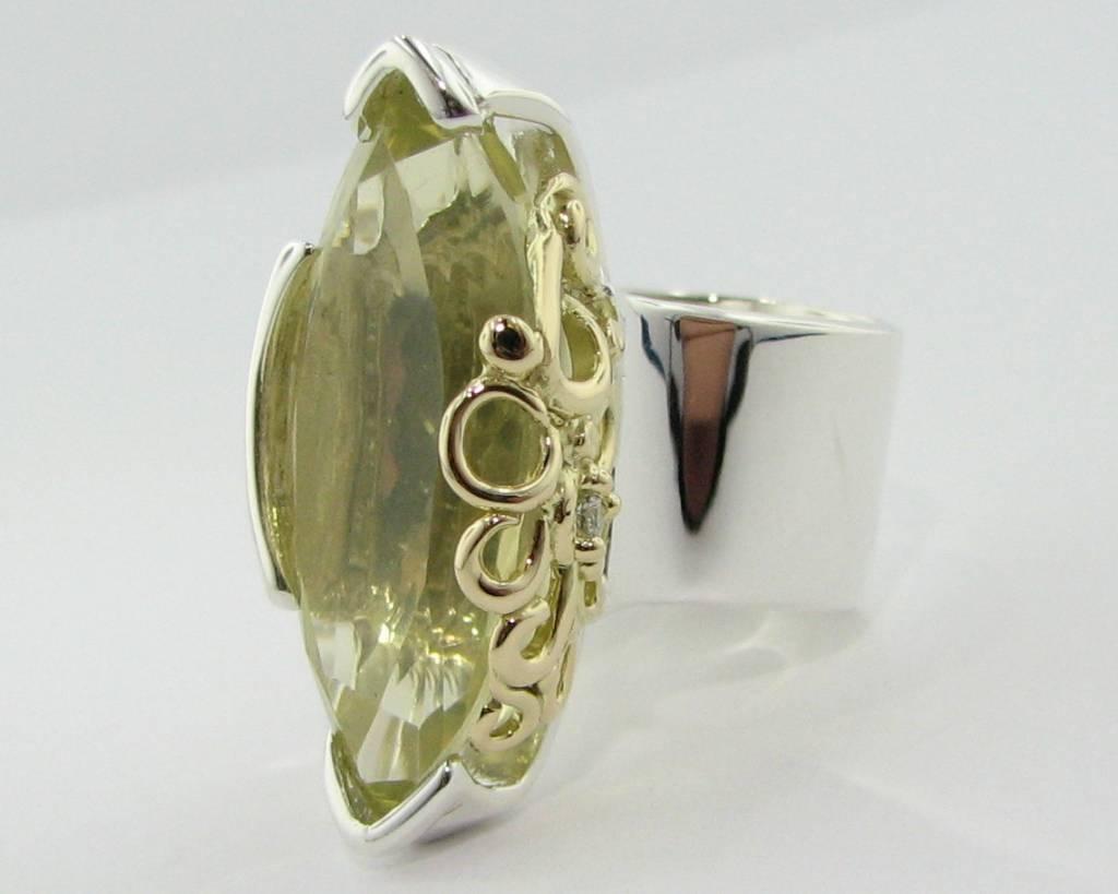 Organic Silver Yellow Gold Lemon Quartz Ring, Confection