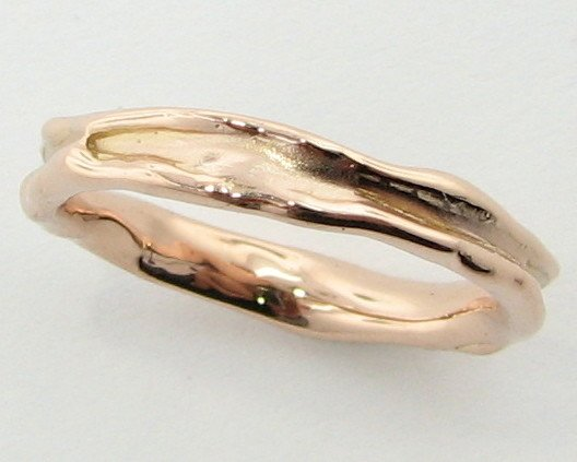 Organic Rose Gold Ring, Skinny Melted Band