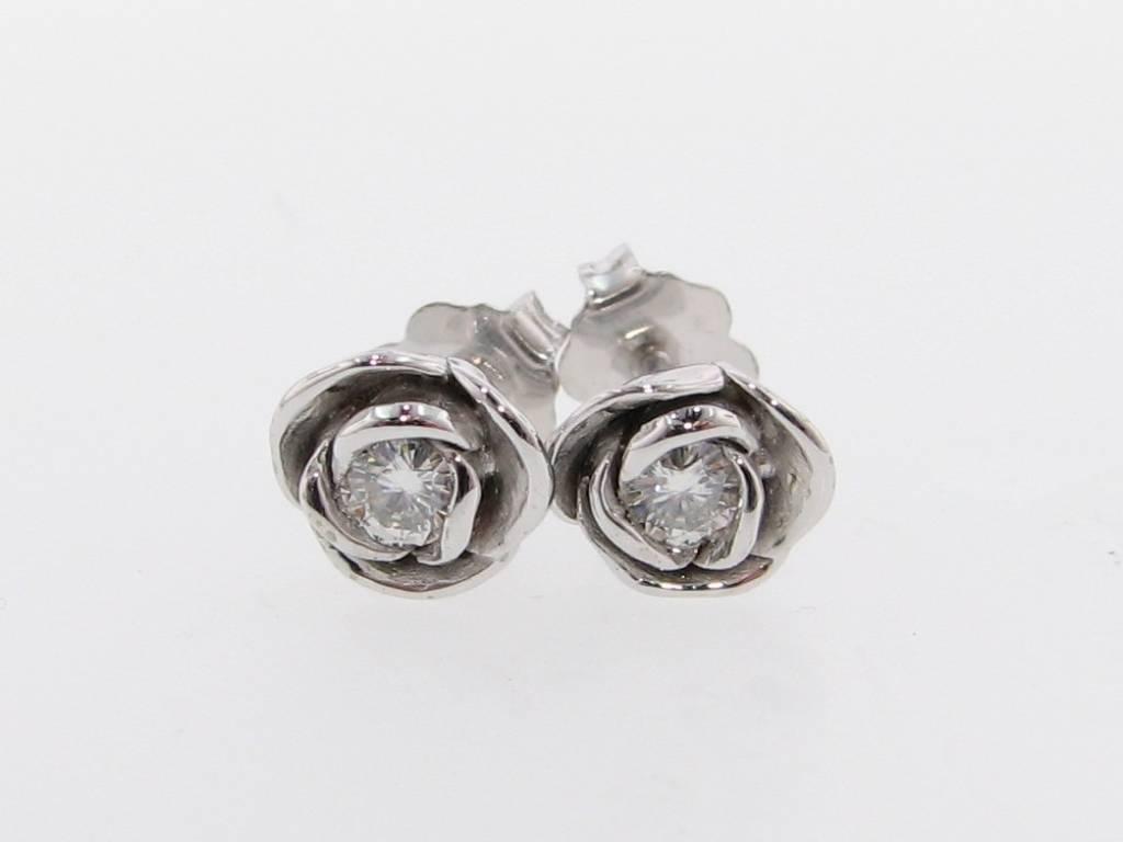Signature Rose Silver Moissanite Earring Studs, Petite Rose