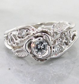 Signature Rose Diamond White Gold Wedding Ring Set, Lacy Tea Rose