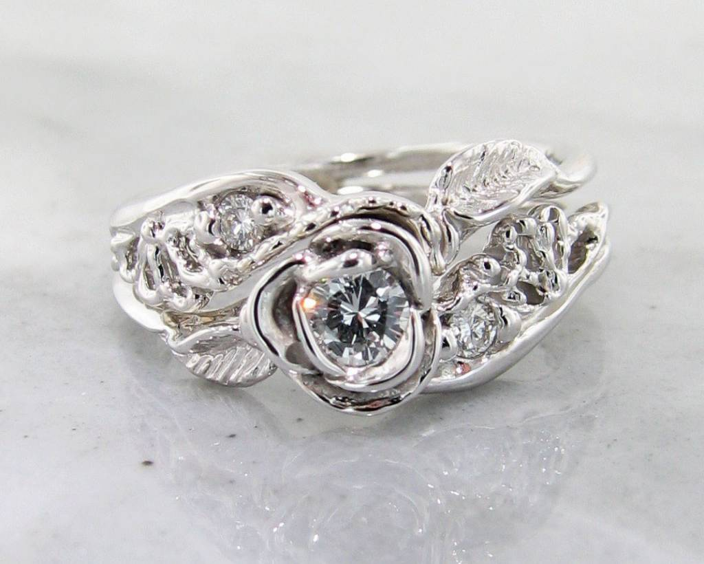 Signature Rose Diamond White Gold Wedding Ring Set, Lacy Tea Rose ...