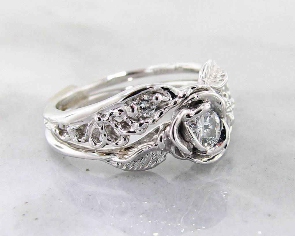Signature Rose Diamond White Gold Wedding Ring Set Lacy Tea