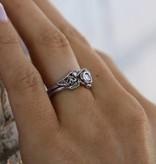 Signature Rose Diamond White Gold Wedding Ring Set, Lacy Tea Rose