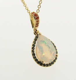 Sleek Opal Topaz Yellow Gold Pendant, Fiery
