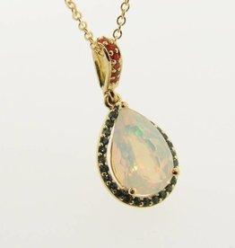 Sleek Opal Topaz Yellow Gold Pendant, Fiery