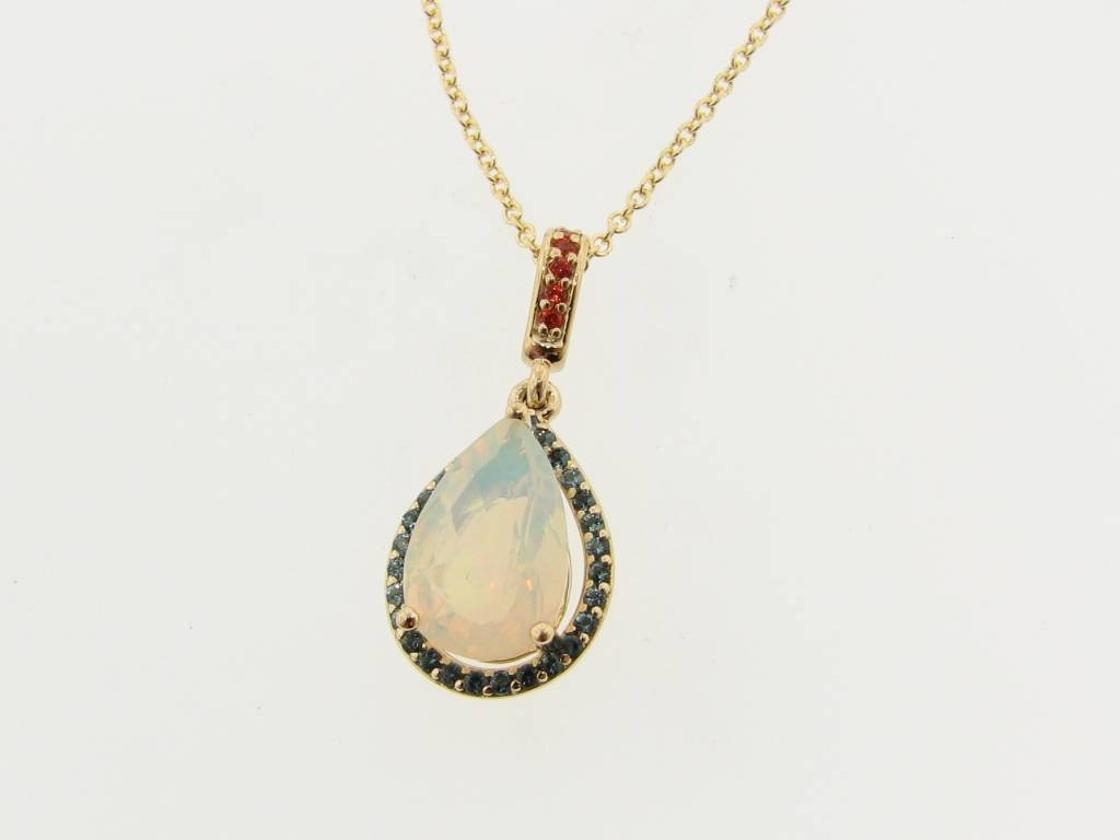 Opal topaz yellow gold pendant fiery wexford jewelers fiery sleek opal topaz yellow gold pendant aloadofball Images