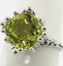 Organic Lemon Quartz Silver Ring, Princess