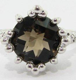 Vintage Smoky Quartz Silver Ring, Princess
