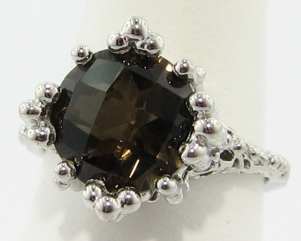 Organic Smoky Quartz Silver Ring, Princess