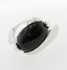 Sleek Black Onyx Silver Ring, Orbit