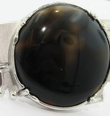 Organic Agate Silver Ring, Knuckleduster