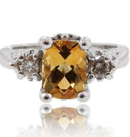 Vintage Citrine Diamond Silver Ring, Old Paris