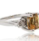 Vintage Citrine Diamond Silver Ring, Old Paris