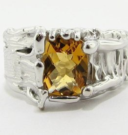 Organic Citrine Silver Ring, Tree Trunk