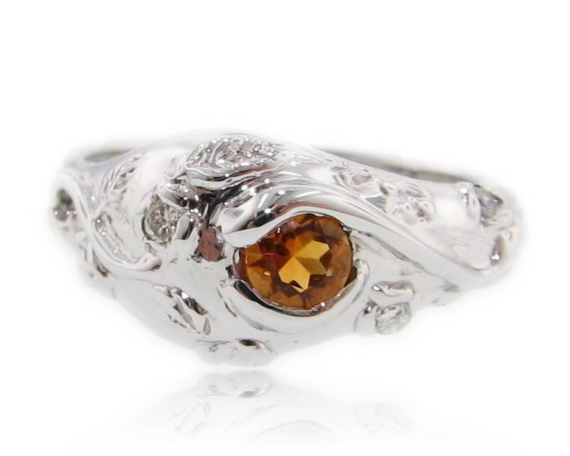 Organic Citrine Silver Ring, Early Morning Garden