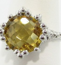 Organic Citrine Silver Ring, Princess Ring