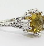 Organic Citrine Silver Ring, Princess Ring