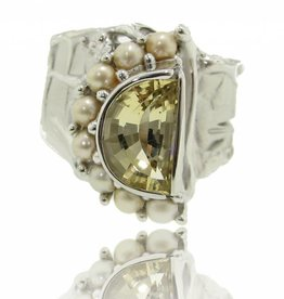 Organic Citrine Pearl Silver Ring, Cinderella's Staircase