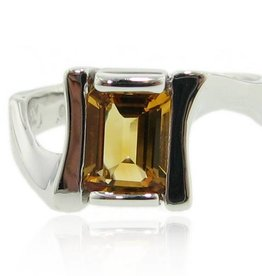 Sleek Silver Citrine Ring, Galaxy