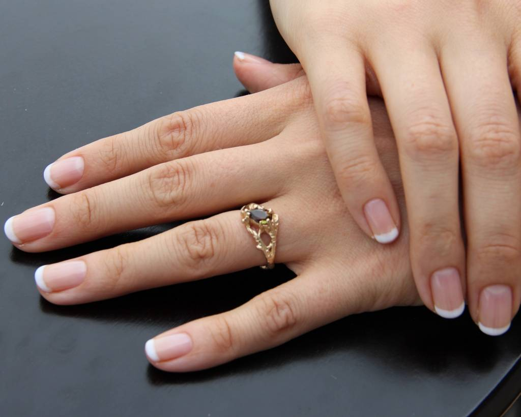 Organic Yellow Gold Andalusite Ring, Branches