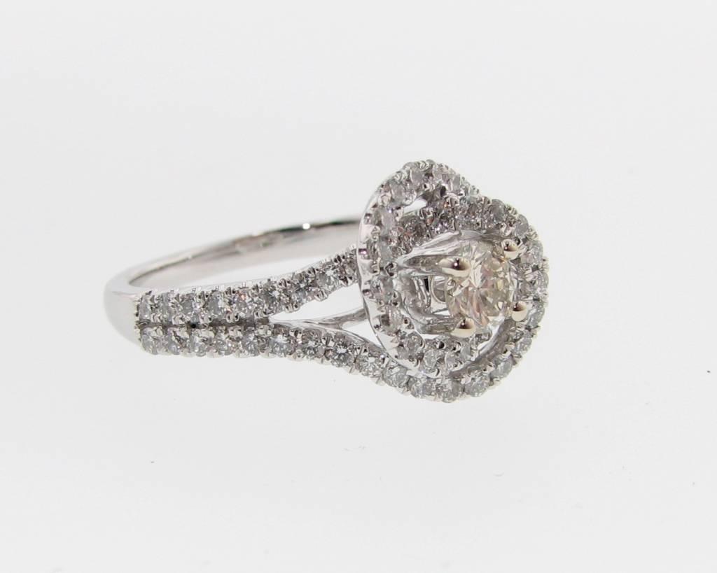 Timeless Bridal White Gold Diamond Wedding Ring Set, Swirl