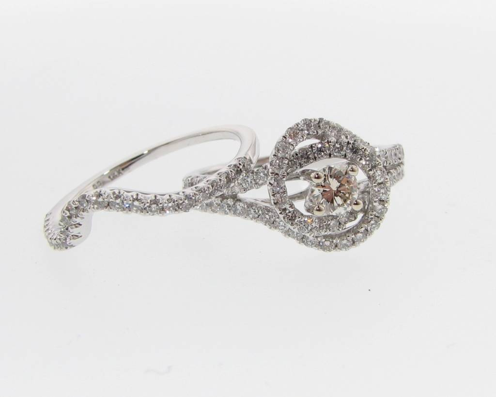White Gold Diamond Wedding Ring Set Swirl Wexford Jewelers
