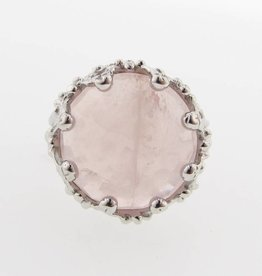 Vintage Silver Rose Quartz Ring, Duchess Lost Relic