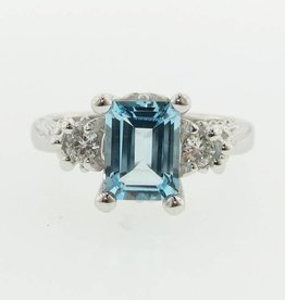 Vintage Sky Blue Topaz Moissanite Ring, Old Paris